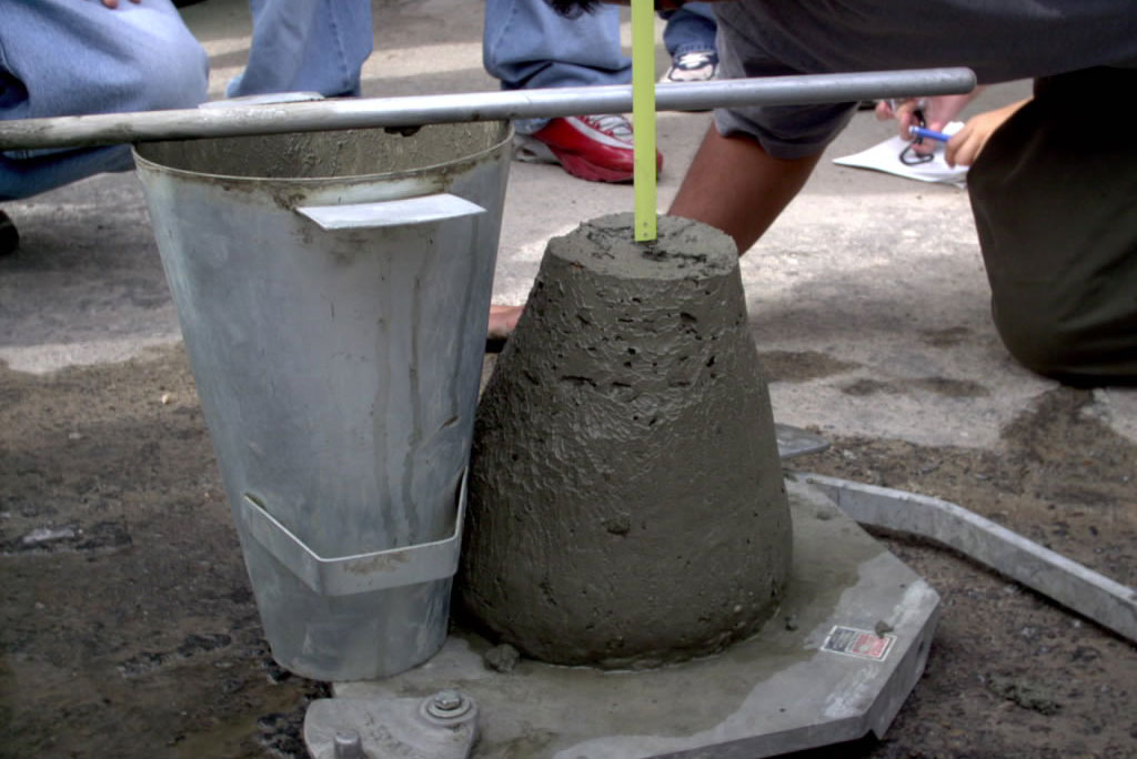 teste para receber o concreto na obra